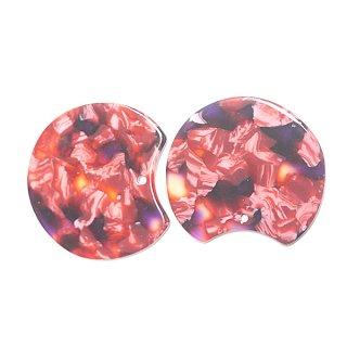 【1個】ピンク&レッドマーブルカラー約37mm!チャーム、パーツ B303