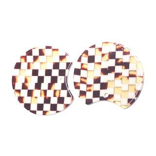 【1個】格子柄ベージュ&ブラウンカラー約37mm!チャーム、パーツ