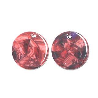 【1個】ピンク&レッドマーブルカラー約20mm 円形!チャーム、パーツ B303