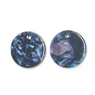 【1個】ネイビー&ブルーマーブルカラー約20mm 円形!チャーム、パーツ B304