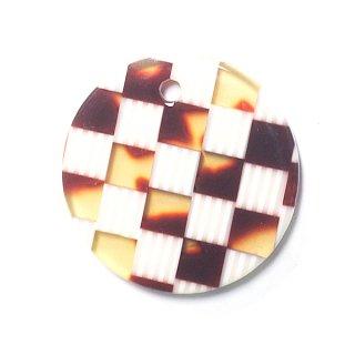 【1個】格子柄ベージュ&ブラウン約20mm 円形!チャーム、パーツ
