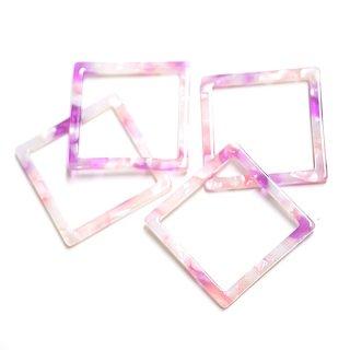 【1個】ピンクグラデーションのスクエア形!アセチルセルロース (acetylcellulose)チャーム、パーツ