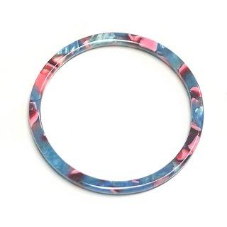 【1個】ブルー&ピンクマーブルカラー約43mmサークル!チャーム、パーツ