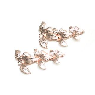 【1個】バラして使えるNarcissus花マットピンクゴールドチャーム、パーツ