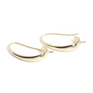 【2個入り】ピートン付き!優美な曲線の約24mm光沢ゴールドピアスフック、パーツ