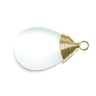 【1個】1点もの!ホワイトカラー Cateye 約20mmゴールドチャーム、パーツ 天然石