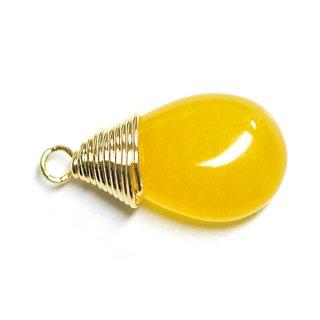 【1個】1点もの!イエローカラー翡翠(Jade)約15mmしずく形ゴールドチャーム、パーツ