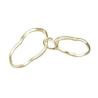 【1個】手作り感あるTrio Oval Curve Circle マッドゴールドチャーム、パーツ