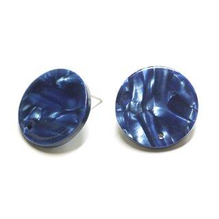【1ペア】チタン芯&穴あり!ブルーマーブルカラー約20mmピアスパーツ 064