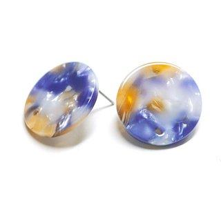 【1ペア】チタン芯&穴あり!ブルー&キャメルマーブルカラー約20mmピアスパーツ 069