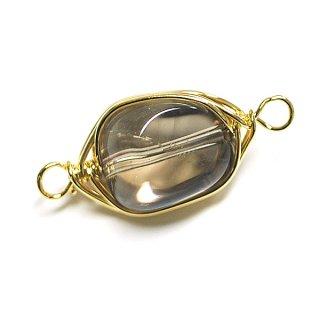 【1個】1点もの!水晶(スモーキー・クォーツ)約17mm両カンゴールドチャーム、パーツ