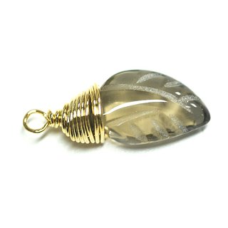 【1個】水晶(スモーキークオーツ) 約18mmゴールドチャーム、パーツ
