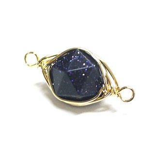 【1個】1点もの!ブルーゴールドストーンBlue Gold Stone 約17mm両カンゴールドチャーム、パーツ