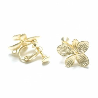 【1ペア】マッドゴールドカン&ネジバネ付きHawaiian Flowerフラワーイヤリング、パーツ