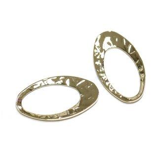 【4個入り】凹凸あるオーバル形のゴールドチャーム、パーツ