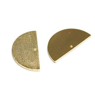 【2個入り】質感ある約25mmハーフサークル形光沢ゴールドチャーム、パーツ