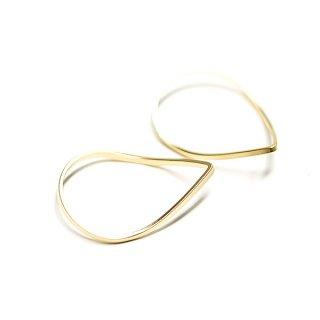 【2個入り】優美な曲線の3D立体的なマットゴールドパーツ