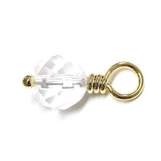 【1個】1点もの!クリスタル水晶 Crystal 約19mmゴールドチャーム、パーツ