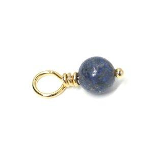 【1個】1点もの!ラピスラズリ Lapis Lazuli 約19mmゴールドチャーム、パーツ