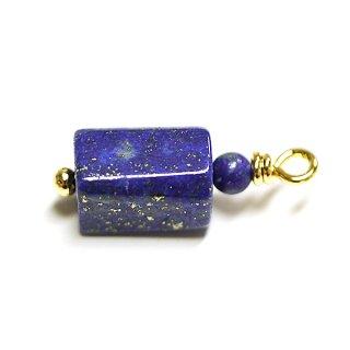 【1個】1点もの!ラピスラズリ Lapis Lazuli 約18.5mmゴールドチャーム、パーツ