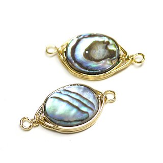 【1個】1点もの!アワビの貝殻Abalone Shell楕円形 両カン付きゴールドチャーム、パーツ