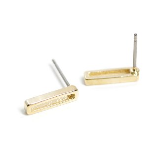【1ペア】チタン芯!光沢ゴールド約12mmスリムなスクエア形チタン芯ピアス、パーツ