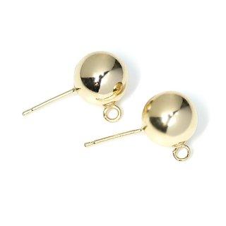 【1ペア】925刻印芯!約8mm光沢ゴールドカン付きCircle Ball シルバー925芯ピアス、パーツ