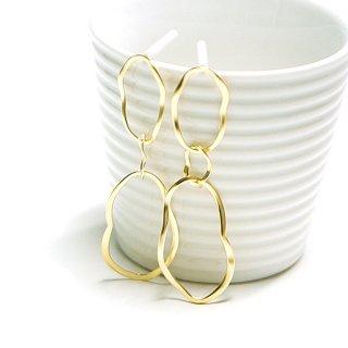 【1ペア】925刻印芯!大ぶりな手作り感あるTrio Oval Curve Circleマッドゴールド、シルバー925芯ピアス、パーツ