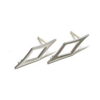 【1ペア】925刻印芯!Sharp Diamondマッドシルバーカン付きシルバー925芯ピアス、パーツ