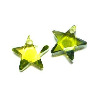 【1個】Olive Greenオリーブグリーンカラー星形キュービックジルコニア、ビーズ、パーツ