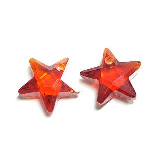 【1個】Garnet Redガーネットレッドカラー星形キュービックジルコニア、ビーズ、パーツ