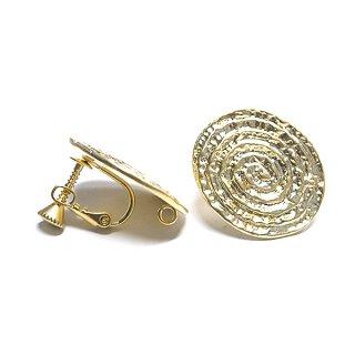 【1ペア】大振り渦巻き楕円形マットゴールドカン&ネジバネ付きイヤリング、パーツ