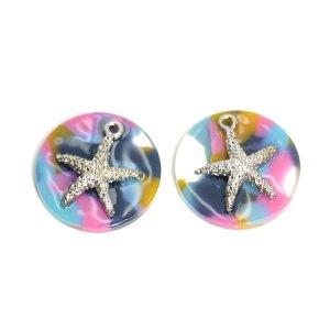 【1個】Colorful Circle&SIlver StarfishヒトデSummerペンダント,チャームJP