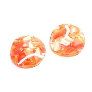 【1個】両穴!曲線の円形Orange&Yellowカラー約30mm円形チャーム、パーツ