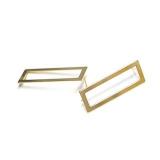 【1ペア】SV925芯!シャープなLong Square 約38mm光沢ゴールドカン付きシルバー925芯ピアス、パーツ