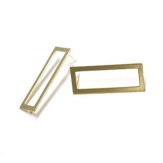 【1ペア】SV925芯!シャープなLong Square 約38mmマットゴールドカン付きシルバー925芯ピアス、パーツ
