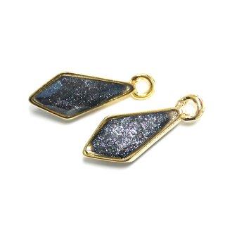 【2個入り】Shinnyブラックカラープチダイヤモンド形ゴールドチャーム、パーツ