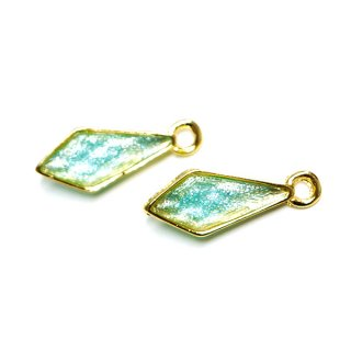 【2個入り】Shinnyミントカラープチダイヤモンド形ゴールドチャーム、パーツ