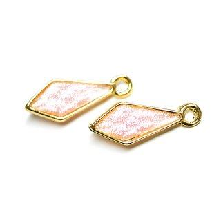 【2個入り】Shinnyピンクカラープチダイヤモンド形ゴールドチャーム、パーツ
