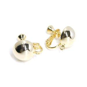 【1ペア】約12mm半球ゴールドカン&ネジバネイヤリング,パーツ