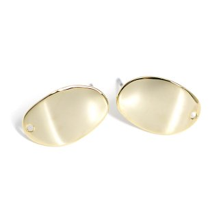 【1ペア】穴あり!緩やかなウェーブの光沢ゴールド、チタン芯ピアス、パーツ