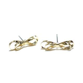 【1ペア】Double Ribbonリボンモチーフの光沢ゴールドチタン芯ピアス、パーツ