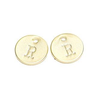 【2個入り】大文字 R イニシャル プチ円形マッドゴールドチャーム、パーツ