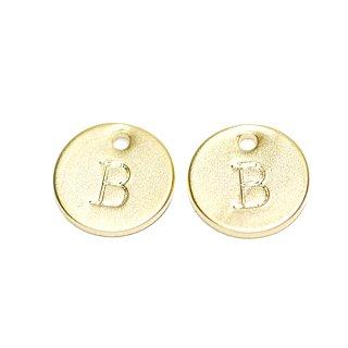 【2個入り】大文字 B イニシャル プチ円形マッドゴールドチャーム、パーツ