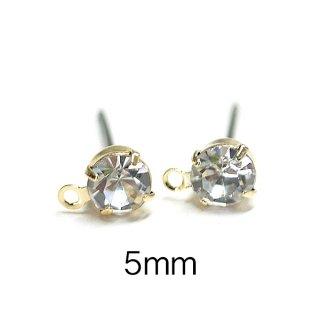 【6個(3ペア)】チタン芯!5mmクリスタルカラーチェコストーン&カン付きゴールドピアス、パーツ