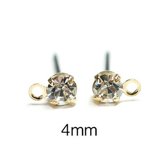 【6個(3ペア)】チタン芯!4mmクリスタルカラーチェコストーン&カン付きゴールドピアス、パーツ