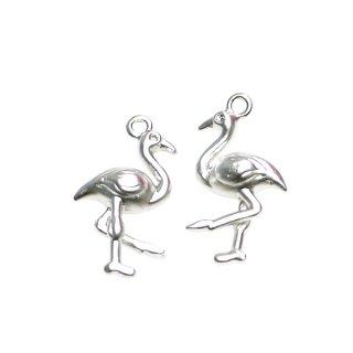 【2個入り】フラミンゴ Flamingoモチーフマッドシルバーチャーム、パーツ