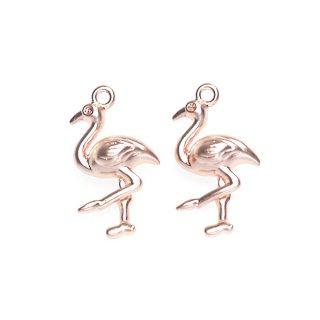 【2個入り】フラミンゴ Flamingoモチーフマッドピンクゴールドチャーム、パーツ
