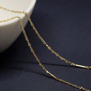 華奢な線&ツイスト約1.55mm ゴールドプレート真鍮チェーン