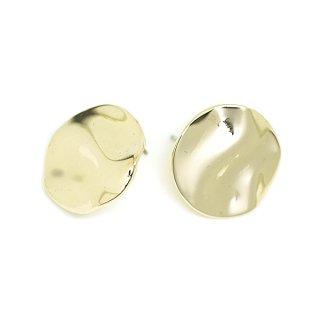 【1ペア】チタン芯!20mm曲線Circleモチーフゴールドカン付きピアス、パーツ